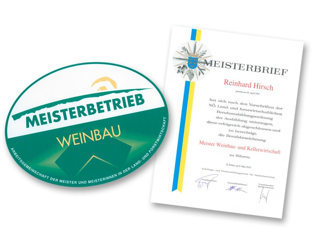 Kellermeister-Schild und Urkunde
